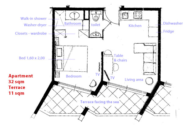 Floor map holiday apartment LA NAPOULE MARINA