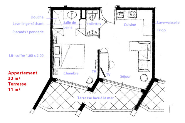 Plan de l'appartement de vacances LA NAPOULE MARINA
