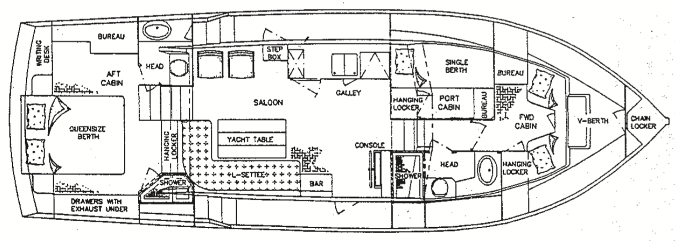 Map of a Grand Banks MY42 motoryacht similar to Happy2